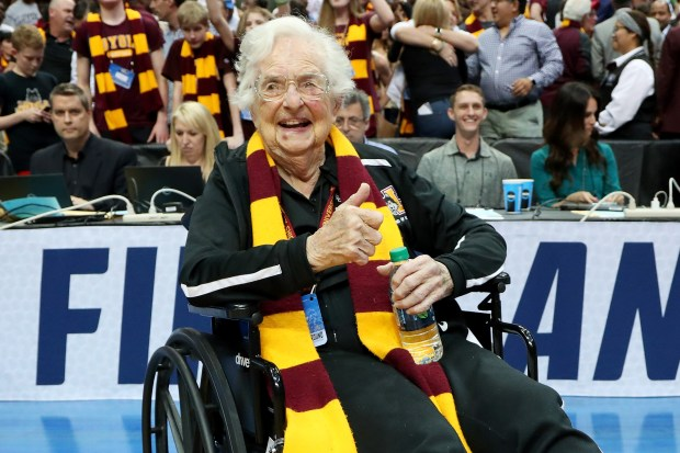 DALLAS, TX - MARCH 17: Sister Jean Dolores-Schmidt celebrates after the Loyola Ramblers beat the Tennessee Volunteers 63-62 in the second round of the 2018 NCAA Tournament at the American Airlines Center on March 17, 2018 in Dallas, Texas. (Photo by Tom Pennington/Getty Images)