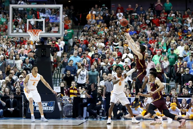 DALLAS, TX - MARCH 17: Clayton Custer #13 of the Loyola Ramblers attempts a shot in the second half against the Tennessee Volunteers during the second round of the 2018 NCAA Tournament at the American Airlines Center on March 17, 2018 in Dallas, Texas. (Photo by Ronald Martinez/Getty Images)