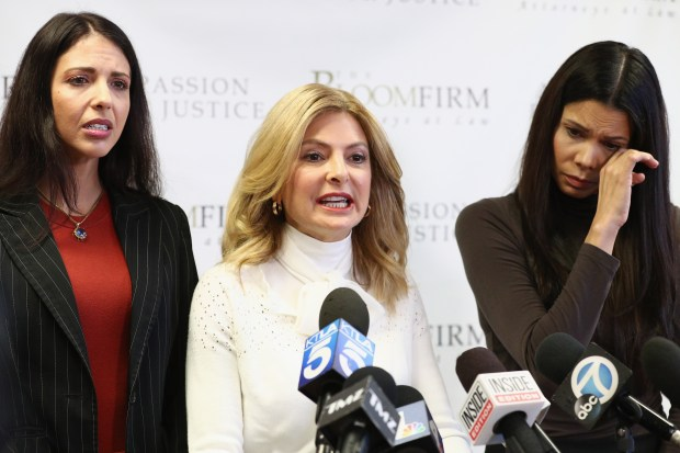 WOODLAND HILLS, CA - MARCH 19: Attorney Lisa Bloom (C) holds a press conference with her clients Faviola Dadis (L) and Regina Simons, who are accusing actor Steven Seagal of sexual assault, at The Bloom Firm on March 19, 2018 in Woodland Hills, California. (Photo by Frederick M. Brown/Getty Images)