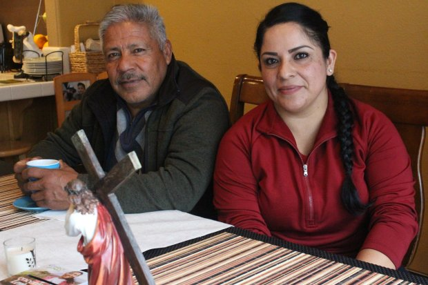Nancy Gonzalez and her father, Jose, meet at her home in Morgan Hill, Calif. on Feb. 26, 2018. Gonzalez marched against Prop. 187 when she was 14years old. (Farida Jhabvala Romero/KQED) *