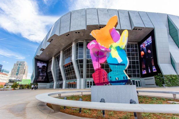 Sacramento's 18-month-old Golden 1 Center is a major concert venue --Maroon 5 and Harry Styles will be performing there later this year -- and the home of the NBA Sacramento Kings. The colorful sculpture in front is renowned artist Jeff Koons' 18-foot-tall Coloring Book No. 4. (Courtesy Carlos Eliason)
