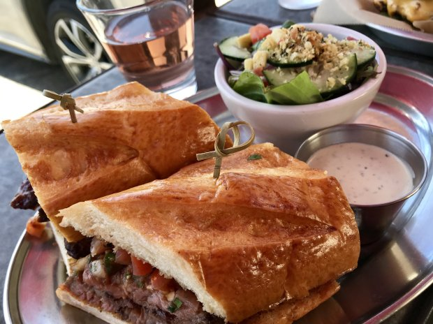 The Oak Smoked Tri-Tip Sandwich at Santa Barbara's Shalhoob Funk Zone Patiois crazy good. (Jackie Burrell/Bay Area News Group)