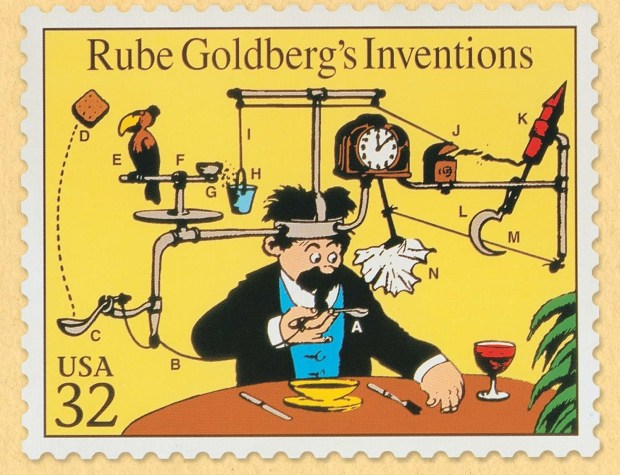 CONTEMPORARY JEWISH MUSEUMA U.S. stamp honoring Rube Goldberg and depicting one of his cartoons is part of an exhibit on the artist at the Contemporary Jewish Museum.