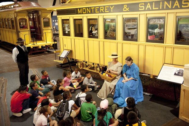 Costumed docents bring railroad history and lore to life at the CaliforniaState Railroad Museum in Sacramento. (Visit California/Andreas Hub)