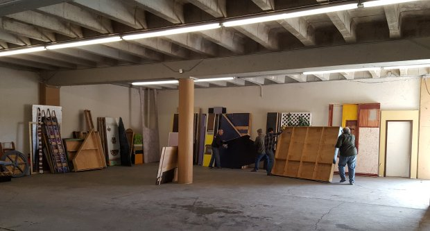 Scenery and other items are moved into Tabard Theatre's new studio space onNorth San Pedro Street in San Jose in January. (Photo courtesy Nick Nichols)