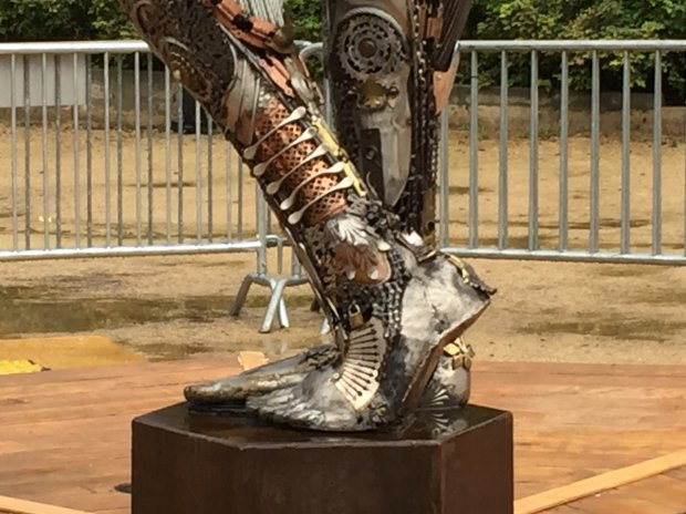 "The legs and feet of the ""Tara Mechani"" sculpture show off the details thatwent into its construction, including many recycled machine parts and a small lock. (Sal Pizarro/Bay Area News Group)"