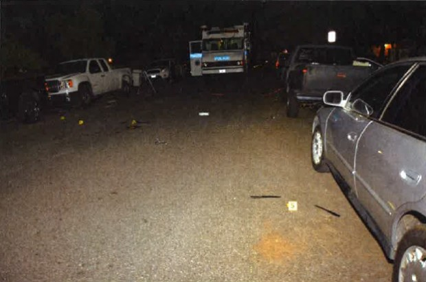 Pictured is the aftermath of a fatal officer-involved shooting on May 2, 2017 in the East San Jose foothills. Near the bottom right are two knives that a mentally ill man was reportedly holding when he charged at an officer, who opened fire. (Santa Clara Co. District Attorney's Office)