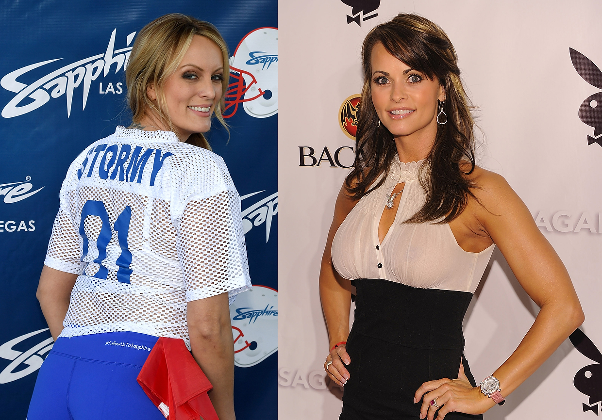 LEFT- Adult film actress  director Stormy Daniels RIGHT- Former Playboy playmate Karen Mc Dougal