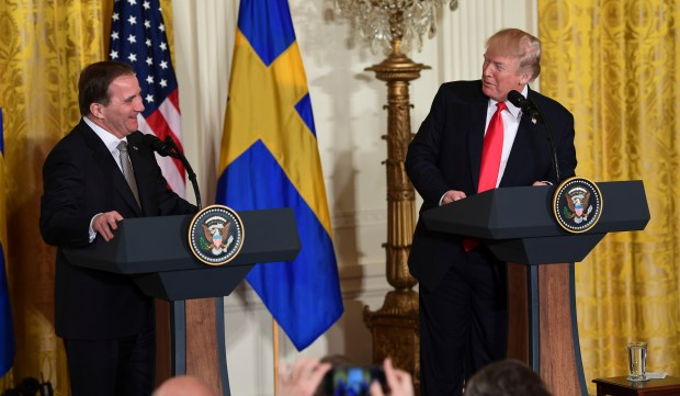 President Donald Trump, right, speaks about Swedish Prime Minister Stefan Lofven, left, during a news conference in the East Room of the White House in Washington, Tuesday, March 6, 2018. (AP Photo/Susan Walsh)