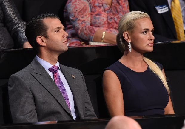 (FILES) In this file photo taken on July 21, 2016 Donald Trump Jr., and his wife Vanessa Trump look on during the Republican National Convention at the Quicken Loans Arena in Cleveland, Ohio. / AFP PHOTO / Robyn BECKROBYN BECK/AFP/Getty Images
