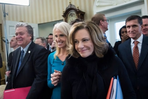 Then-Deputy National Security Adviser K.T. McFarland watches Jeff Sessions get sworn in as attorney general in the Oval Office last year. (Jabin Botsford/The Washington Post)