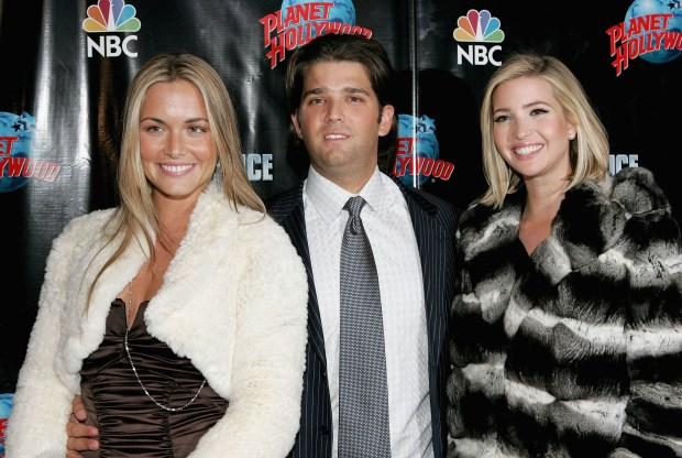 "NEW YORK - DECEMBER 15: (L to R) Vanessa Haydon, Donald Trump Jr and Ivanka Trump attend ""The Apprentice"" season four finale after party at Planet Hollywood December 15, 2005 in New York City. (Photo by Paul Hawthorne/Getty Images)"