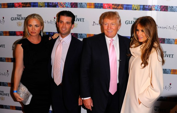 "NEW YORK, NY - APRIL 05: (L-R) Vanessa Trump, Donald Trump Jr., Donald Trump and Melania Trump attend the 9th Annual ""Dressed To Kilt"" charity fashion show at Hammerstein Ballroom on April 5, 2011 in New York City. (Photo by Andrew H. Walker/Getty Images)"