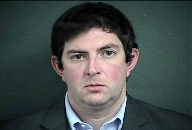 This photo provided by The Wyandotte County Detention Center in Kansas City, Kan., shows Tyler Miles on Friday, March 23, 2018. Miles, an executive with the Kansas water park where a 10-year-old boy died on a giant waterslide has been charged with involuntary manslaughter. Miles, an operations director for Schlitterbahn, was booked into the Wyandotte County jail Friday and is being held on $50,000 bond. Caleb Schwab died in August 2016 on the 17-story Verruckt water slide at the park in western Kansas City, Kansas. (Wyandotte County Detention Center via AP)