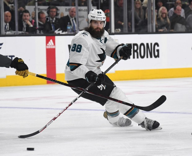 LAS VEGAS, NV - MARCH 31: Brent Burns #88 of the San Jose Sharks passes the puck against the Vegas Golden Knights in the first period of their game at T-Mobile Arena on March 31, 2018 in Las Vegas, Nevada. (Photo by Ethan Miller/Getty Images)