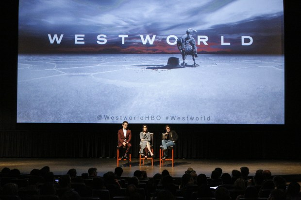 "SAN FRANCISCO, CA - APRIL 18: (L-R) Simon Quarterman, Shannon Woodward and Kara Swisher attend the San Francisco Premiere of ""Westworld"" Season 2 from HBO on April 18, 2018 in San Francisco, California. (Photo by FilmMagic/FilmMagic for HBO)"
