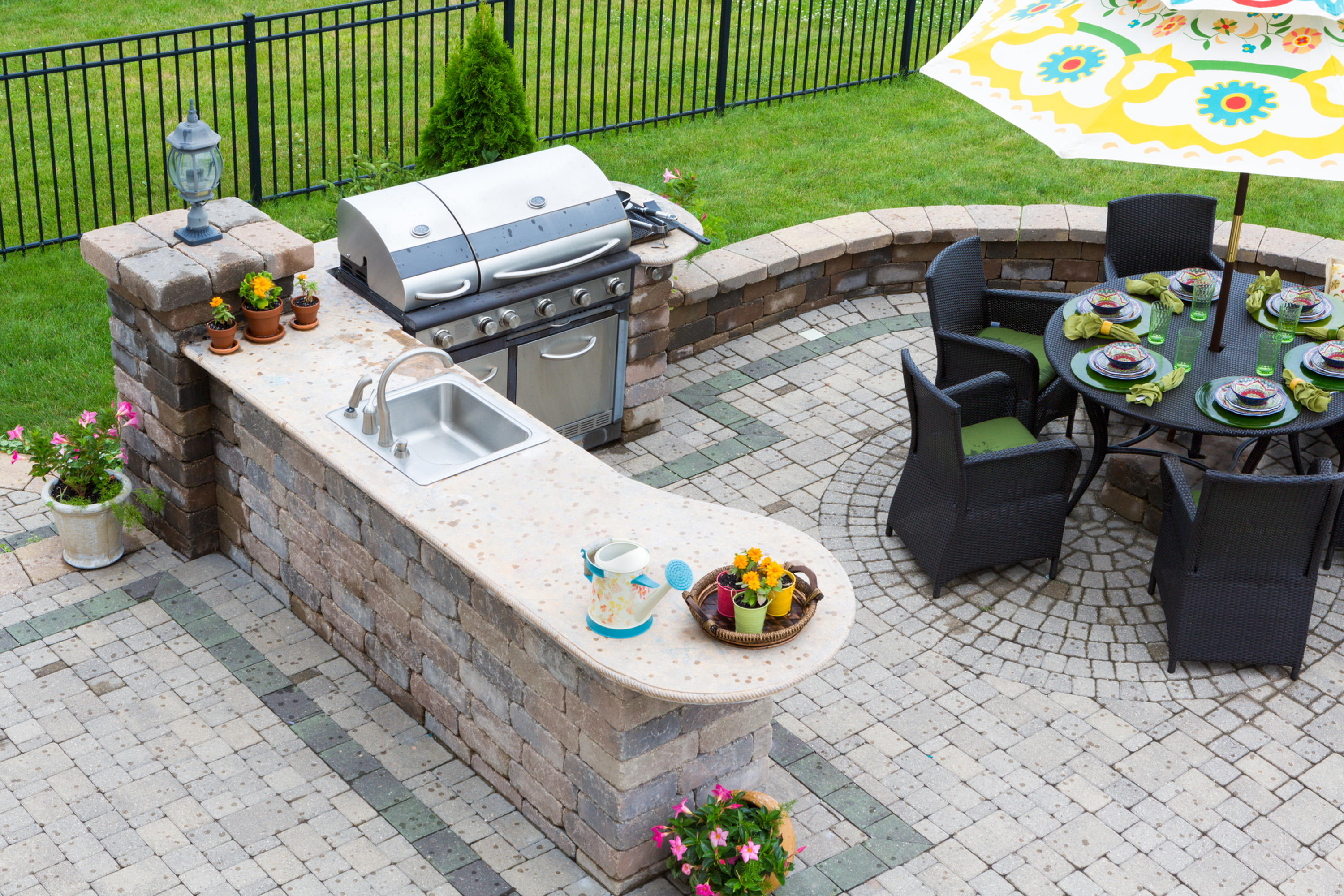 outdoor kitchen cart how to plan the perfect grills sinks refrigerators and stone countertops are popular features dreamstime