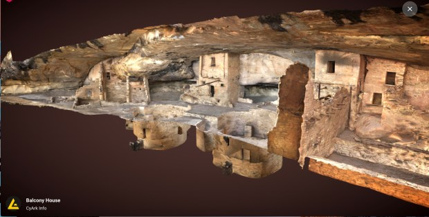 A screen shot of the 3D model of Mesa Verde's Balcony House. At the Open Heritage site, users can rotate the model and zoom in to examine details. (CyArt / Google Arts & Culture)