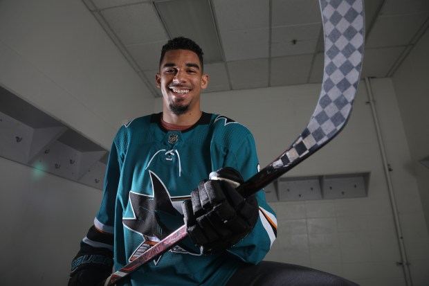 The San Jose Sharks' Evander Kane prepares for his first taste of the playoffs at Shark's Ice, Monday, April 9, 2018 in San Jose, Calif. (Karl Mondon/Bay Area News Group)