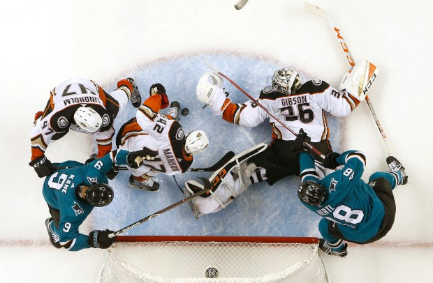 Anaheim Ducks goaltender John Gibson (36) makes a save against the San Jose Sharks in the second period of Game 3 of an NHL first round playoff series at the SAP Center in San Jose, Calif., on Monday, April 16, 2018. (Nhat V. Meyer/Bay Area News Group)