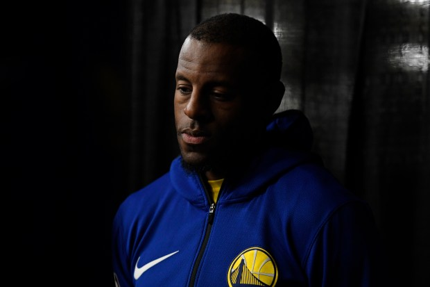 Golden State Warriors' Andre Iguodala (9) finds a spot in the tunnel to stand before the start of Game 4 of their NBA first-round playoff series at AT&T Center in San Antonio, Texas, on Sunday, April 22, 2018. (Jose Carlos Fajardo/Bay Area News Group)