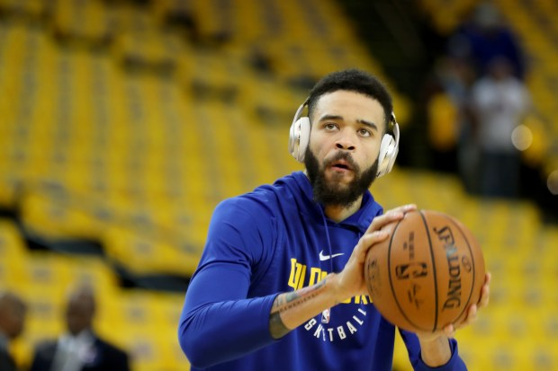 Golden State Warriors' JaVale McGee (1) warms up before they take on the New Orleans Pelicans in Game 1 of the NBA Western Conference semifinals at Oracle Arena in Oakland, Calif., on Saturday, April 28, 2018. (Ray Chavez/Bay Area News Group)