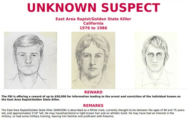 "This FBI wanted poster obtained April 25, 2018 shows drawings of a suspect known as the ""Golden State Killer"".A notorious decades-old mystery over the identity of the ""Golden State Killer,"" believed to have carried out dozens of rapes and multiple murders in California in the 1970s and 1980s, may finally be solved: a suspect has reportedly been arrested. Joseph James DeAngelo, 72, is being held in the Sacramento County jail on two counts of murder, the Sacramento Bee reported on April 25, 2018.According to local television stations, DeAngelo was once a policeman. The Golden State Killer, also known as the ""East Area Rapist"" and ""Original Nightstalker,"" is suspected of carrying out at least 12 murders and 45 rapes in California between 1976 and 1986, according to the FBI. (HANDOUT/AFP/Getty Images)"