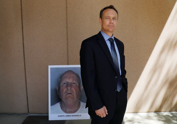 "Paul Holes, retired Contra Costa investigator who spent 24 years investigating the ""Golden State Killer"" is photographed outside the Sacramento District Attorney's office in Sacramento, Calif., on Wednesday, April 25, 2018. District Attorneys from county across the Bay Area join the FBI and crime investigators in a press conference announcing the arrest of Joseph James DeAngelo, 72. (Laura A. Oda/Bay Area News Group)"