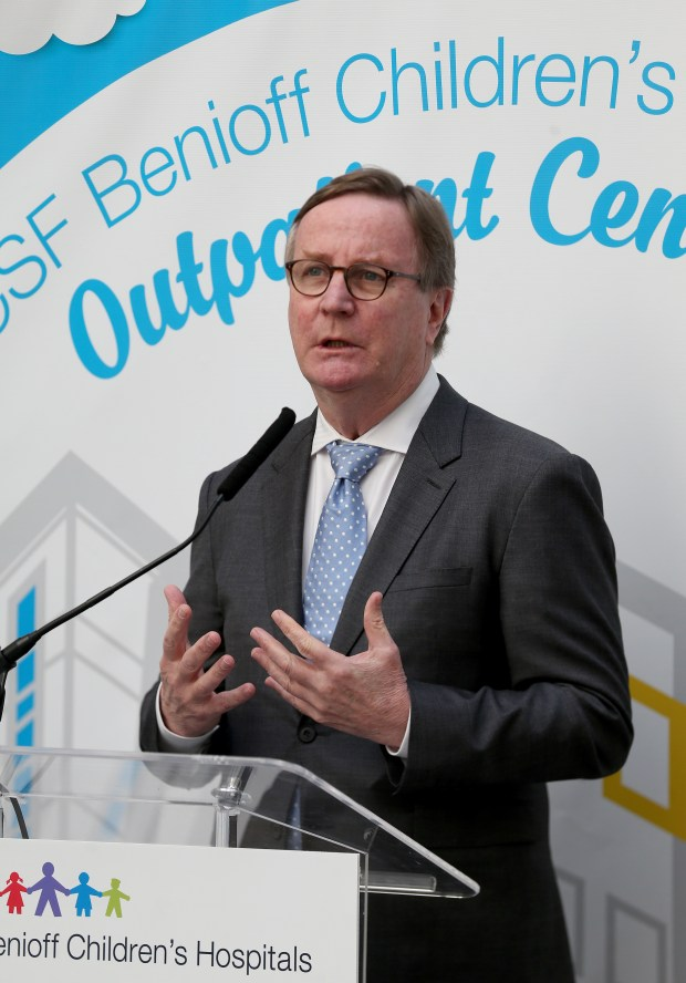 UCSF Chancellor Dr. Sam Hawgood speaks during the UCSF Benioff Children's Hospital Oakland outpatient center ribbon-cutting ceremony in Oakland, Calif., on Thursday, April 19, 2018. The new six-story building will have an additional 89,000 square feet of exam rooms, treatment facilities and family support services and will house advanced technologies and clinical space for specialties including orthopedics, physical rehabilitation, pulmonology, dermatology, cardiology, outpatient surgery, neurology, neurosurgery and more. (Jane Tyska/Bay Area News Group)