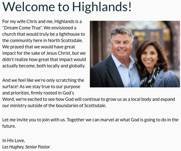 "Les Hughey's ""Our Story"" statement on the website of Highlands Church."