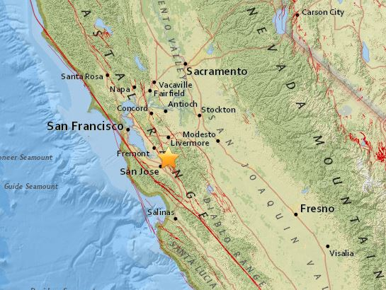 A 3.9 magnitude quake jolted the South Bay this morning, in an area notorious for seismic restlessness, according to the U.S. Geological Survey.Around 9:40 a.m., just after San Jose residents experienced hail, torrential rain and thunderous dark clouds, the earth beneath them suddenly shifted. The 3.9 quake was centered about nine miles northeast of downtown San Jose, in the Alum Rock region.