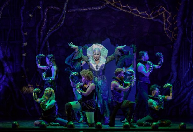 "Peppermint as Pythio and company in the pre-Broadway tryout of ""Head OverHeels"" at the Curran. (Joan Marcus)"