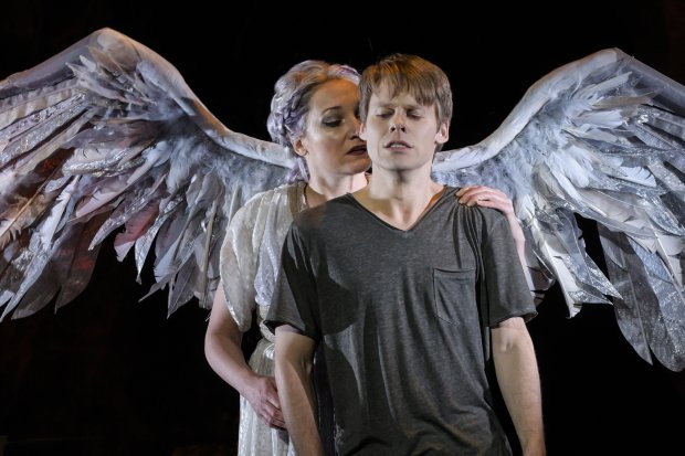 Francesca Faridany (The Angel) and Randy Harrison (Prior Walter) inBerkeley Repertory Theatre's production of *Angels in America, Part Two: Perestroika*. (Kevin Berne/Berkeley Repertory Theatre)