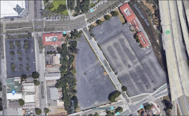 The site of the Diridon development by Trammell Crow in downtown San Jose,in an aerial view. Google has struck a deal to buy a big parcel from Trammell Crow that represents a major addition to the sites the search giant has begun to assemble for its proposed transit-oriented development in downtown San Jose, the company confirmed Tuesday. Google Maps