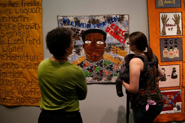 "Brian Robinson's quilt ""Born a Crime"" is viewed at the San Jose Museum of Quilts and Textiles, Sunday, April 22, 2018., in San Jose, Calif. The piece was created at the East Bay's Social Justice Sewing Academy and is part of an exhibition entitled ""Generation of Change: A Movement, Not a Moment."" (Karl Mondon/Bay Area News Group)"