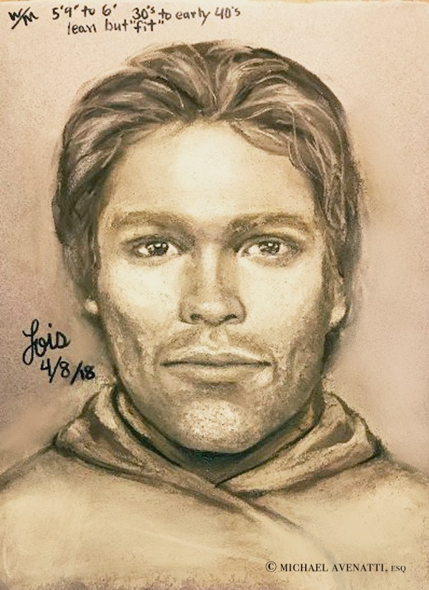 This artist's drawing purportedly shows the man that the adult film actress Stormy Daniels says threatened her in a Las Vegas parking lot in 2011. (Michael Avenatti via AP)