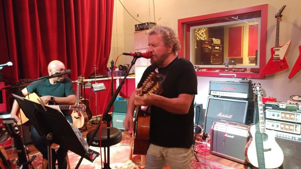 From left, Vic Johnson and Sammy Hagar at Hagar's studio. (Jim Harrington, Staff)