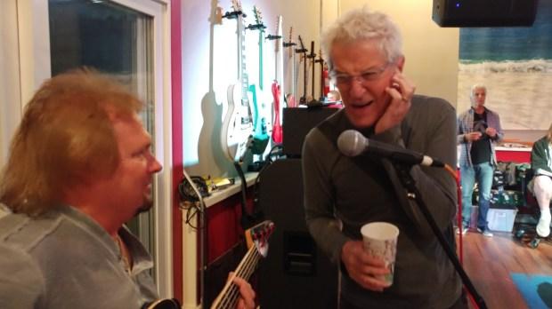From left, Michael Anthony and Kevin Cronin at Sammy Hagar's studio. (Jim Harrington/Staff)