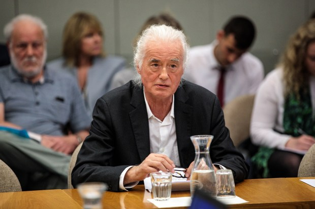 British musician Jimmy Page makes a statement at a planning meeting at Kensington and Chelsea Town Hall on May 29, 2018 in London, England.  (Photo by Jack Taylor/Getty Images)