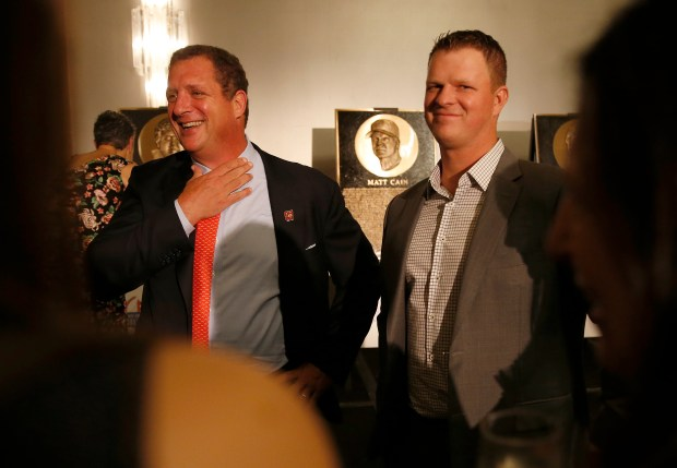 Former San Francisco 49ers offensive lineman Harris Barton, left, and former San Francisco Giants pitcher Matt Cain talk with guests during the San Francisco Bay Area Sports Hall of Fame induction at the Westin St. Francis Hotel in San Francisco, Calif., on Monday, May 21, 2018. Golden State Warriors Tim Hardaway, soccer icon Brandi Chastain and former 49ers executive John McVay were also inducted. (Jane Tyska/Bay Area News Group)