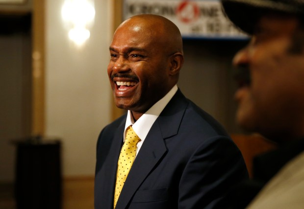 Former Golden State Warriors' Tim Hardaway, center, talks with guests during the San Francisco Bay Area Sports Hall of Fame induction at the Westin St. Francis Hotel in San Francisco, Calif., on Monday, May 21, 2018. San Francisco 49ers offensive lineman Harris Barton, soccer icon Brandi Chastain, San Francisco Giants pitcher Matt Cain and former 49ers executive John McVay were also inducted. (Jane Tyska/Bay Area News Group)