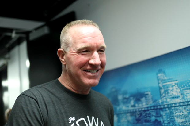 Former Warriors Chris Mullin is photographed during halftime of the Golden State Warriors' Game 3 NBA Western Conference finals against the Houston Rockets at Oracle Arena in Oakland, Calif., on Sunday, May 20, 2018. Mullin will attend Tim Hardaway's induction into the Bay Area Sports Hall of Fame (BASHOF) on Monday night during a ceremony at the Westin St. Francis in San Francisco. (Anda Chu/Bay Area News Group)