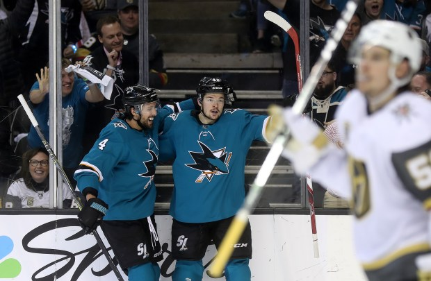 San Jose Sharks forward Tomas Hertl (48) celebrates his second period goal with teammate Brenden Dillon (4) during their game against the Vegas Golden Knights in Game 4 of the second-round of the NHL Stanley Cup Playoffs on Wednesday, May 2, 2018, in San Jose, Calif. (Aric Crabb/Bay Area News Group)