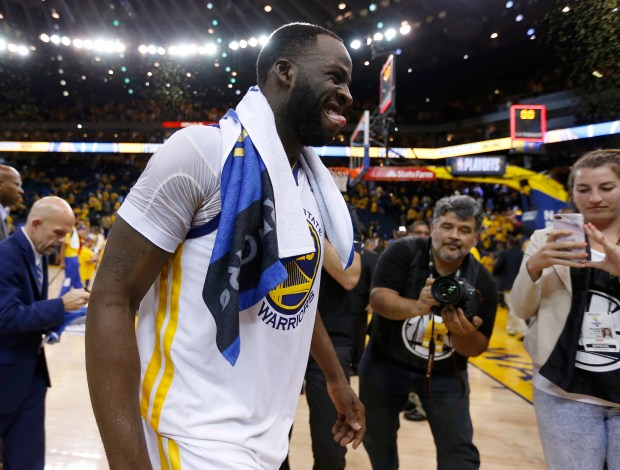Golden State Warriors' Draymond Green (23) walks off the court following their 113-104 win over the New Orleans Pelicans for Game 5 of the NBA Western Conference semifinals at Oracle Arena in Oakland, Calif., on Tuesday, May 8, 2018. (Nhat V. Meyer/Bay Area News Group)