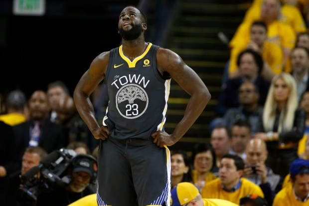 Golden State Warriors' Draymond Green (23) looks up in the third quarter of Game 4 of the NBA Western Conference finals against the Houston Rockets at Oracle Arena in Oakland, Calif., on Tuesday, May 22, 2018. (Nhat V. Meyer/Bay Area News Group)