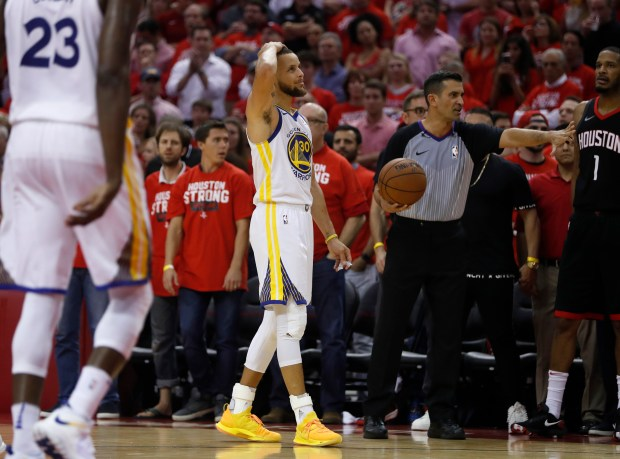 Golden State Warriors' Stephen Curry (30) reacts to a play against the Houston Rockets in the fourth quarter of Game 5 of the NBA Western Conference finals at the Toyota Center in Houston, Texas., on Thursday, May 24, 2018. (Nhat V. Meyer/Bay Area News Group)