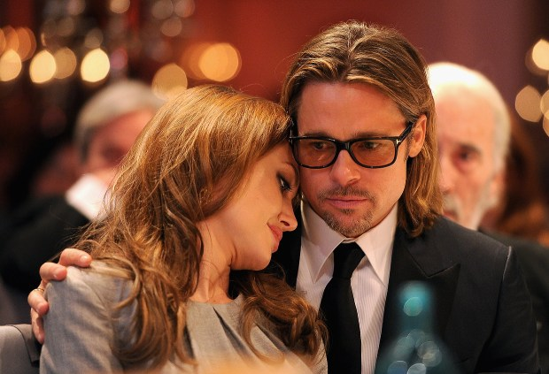 Actors Angelina Jolie and Brad Pitt attend the Cinema for Peace Gala ceremony at the Konzerthaus Am Gendarmenmarkt during day five of the 62nd Berlin International Film Festival on February 13, 2012 in Berlin, Germany. (Photo by Pascal Le Segretain/Getty Images for Cinema for Peace)