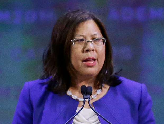 ADVANCE FOR USE SATURDAY, MAY 4, 2018 AND THEREAFTER-FILE - In this Feb. 27, 2016 file photo, California State Controller Betty Yee speaks at the California Democratic State Convention San Jose, Calif. Yee is seeking re-election in the upcoming California primary election. (AP Photo/Ben Margot, File)
