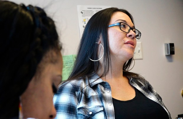Amika Mota, prison re-entry director, takes part in leadership and advocacy training at the Young Women's Freedom Center in San Francisco, Calif., on Thursday, May 17, 2018. A package of bills that is making its way through the state assembly that would make it easier for former prisoners or people with a criminal record to get the occupational licenses needed for jobs.(Laura A. Oda/Bay Area News Group)