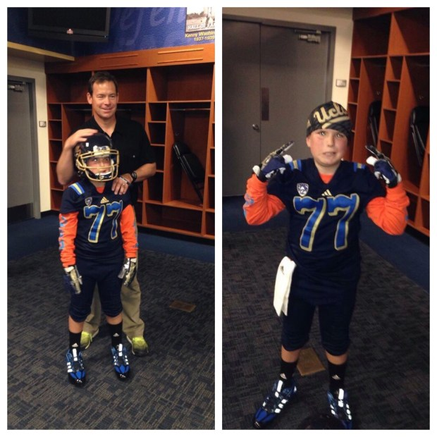 Left: Former UCLA coach Jim Mora with Chad, right: Chad in his gear (courtesy Dan Miller)